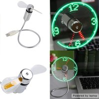 Wholesale USB Mini Flexible Time Clock Fan with LED Light Cool Gadget