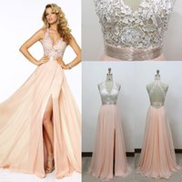 photos clothes - 2015 elegant sexy backless long evening dress lace halter side slit pink evening dress thin clothes