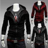 Wholesale 2016 New HOT Men s Coat Slim Personalized hat Design Hoodies Sweatshirts Jacket Sweater Assassins creed Size M XL Plus Size