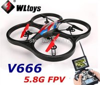 Cheap WLtoys WL toys V666 5.8G 6 Axis 4CH Drone FPV Big Remote Control RC Quadcopter Helicopter With 2MP HD Camera HD Monitor UFO RTF