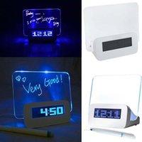 Wholesale Hot LED Luminous Message Board Alarm Clock With Calendar Luminova LED Digital Clock Desktop Clocks Despertador