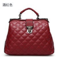 doctor bag - Vintage solid candy color fancy lady handbag doctor bag purses and handbags plaid doctor shoulder handbags Z M422