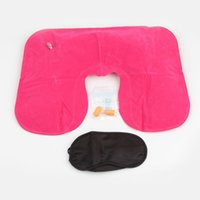 Wholesale quot Inflatable Travel Flight Pillow Neck U Shaped Rest Air Cushion Eye Mask Earbuds Drop Shipping HG quot