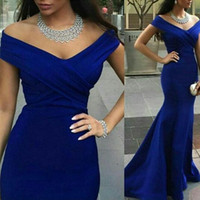 dresses shop - Arabic Chic Navy Blue Evening Dresses Sexy V Neck Criss Cros Off the Shouder Mermaid Floor Length Formal Gowns Custom Made Cheap Online Shop