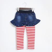 jean skirts - Cute Pearl Girls Jean Skits with Leggings Autumn New Stripes Girls Leggings Girls legging Skirt On Sale Years