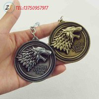 Wholesale Fashion Jewelry Key Chains HBO Game of Thrones keychain House Stark Winter Is Coming cm Metal pendant keyring key chain ring