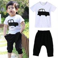 Wholesale 2015 summer children car clothing boys baby child short sleeve T shirt capris set