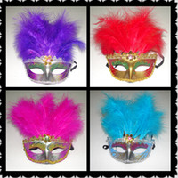 Cheap 18*25cm Long Feather masks Lace Trimming Female Party Mask with 11 root Feathers Fashion Party Masquerade Mask 12pcs lot