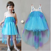 baby steps blue - Bubble Skirt Girls New Princess Mesh Sweet Illusion High quality Vest Kids Dress Lace Temperament Baby Chiffon Summer Stepped Hem Girl Dress