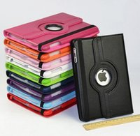 Wholesale Flip Smart Stand Rotating PU Leather Case For Apple ipad with screen protector as gift
