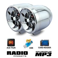Wholesale Motorcycle Alarm Car Audio Speaker MP3 Music Player TF Card USB AUX FM Radio Stereo Amplifier Waterproof Flashing Light Colors MT483 W1125