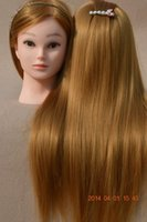 Wholesale PVC Mannequin Manikin Training Head Hairdressing Training Head Golden Real Natural Hair with Clamp Holder