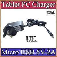 Wholesale 50X Micro USB V A Charger Converter Power Adapter UK plug V AC Hz for quot G MTK6572 Tablet PC phone CQ
