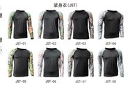 camouflage wholesale - JST tight fitting long sleeved camouflage Combat T Shirt Fitness Workout Bodybuilding mens DRI FIT traning clothes sportwear