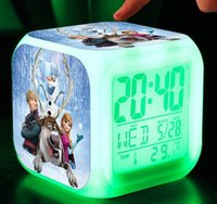 Wholesale New D LED Colors Change Digital Alarm Clock frozen Anna and Elsa Despicable Me Cartoon Night Colorful Glowing Clock toys with Retail Box