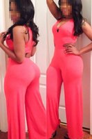 Wholesale New Pink Sexy Cutout Flared Pant Jumpsuit Bell Bottom Women Fashion Casual Stylish Romper Club Wear Playsuit B5043
