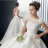 Wholesale 2015 Empire Wedding Dresses Lace Appliqued Cap Sleeve Long Stain Floor Length Backless Elegant Custom Made Bridal Gowns vestido de novia