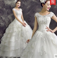 Wholesale New arrival hot sale fashion spike sweety lace luxury word shoulder Cascading Ruffles princess Korean Sequin bride wedding dress