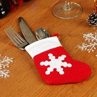 Wholesale 12 Set christmas decorations for home Christma Toys ornaments Santa Silverware Holders Pockets Tableware set Dinner Decor