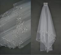 al por mayor cristales velos de boda de marfil-2016 Veu Encanto De Noiva Blanco / Marfil nupcial velo de dos capas suaves de Tulle de boda Accesorios de boda Velos Con Crystal