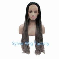 Precio de Trenzas grises oscuros-Africano americano negro mujeres sintéticas ombre negro oscuro raíz gris caja trenzado pelucas encaje frente resistente al calor fibra sintética pelo