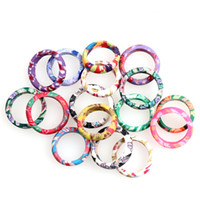 acrylic polymer resin - 100pcs Fashion Mix Color Thin Polymer Clay Rings Fimo Brand Rings Ring mix sizes Jewelry