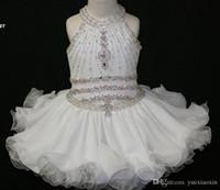 al por mayor vestido de novia blanco 18m-Elegante Blanco Cupcake Toddler Pageant Vestidos Halter rebordeado Princesa Gown Primera Comunión de la Iglesia corta Vestidos de chica de flor para el banquete de boda
