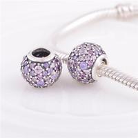 Wholesale 925 ALE Sterling Silver pandora bracelets beads jewelry Multi Pave Ball Crystal bead Charm Fit DIY European Charm Bracelet for women