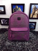 mcm backpack - 100 top quality Korea Designer Brand MCM backpack girl s Fashion PVC Leather school bag Crochet Purple Color New bag EMS