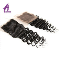 Wholesale 7A Cheap Malaysian Deep Wave Closure Unprocessed Malaysian Virgin Hair Closure inch Malaysian Deep Wave Human Hair Closure