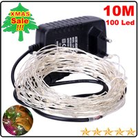 Wholesale 10M LED LED Copper Wire light string lighting Fairy Party Wedding Christmas Flashing LED strip m copper led strings A Adapter