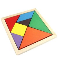 Wholesale Colorful Tangram Children Mental Development Tangram Wooden Jigsaw Puzzle Educational Toys for Kids intellectual Building Blocks