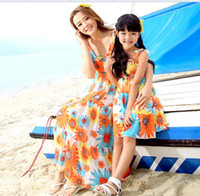 Wholesale Bohemian mother and daughter matching dresses NEW sunflower Printed chiffon long beach maxi dress clothes Family clothing sets cheap