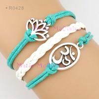 om pendant - Lotus Flower Yogi Charm Water Lily OM Symbol Yoga Pendant Bracelets Wrap Bracelets Leather Wax Unisex Women Fashion Christmas Gift Custom