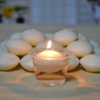 paraffin wax - PACK WATER FLOATING CANDLES PARAFFIN WAX RONND IVORY WHITE RED PINK FLOATED FLOATER ROMANTIC DECORATION DECO DISC UNSCENTED WEDDING