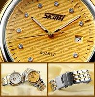 Wr s España-Reloj de cuarzo WR 30M de negocio de los hombres retro de la clase de la alta calidad con la exhibición de la fecha y correa del acero inoxidable 304 Skmei 9099