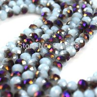 Wholesale 2 Strand mm Shiny Faceted Crystal Glass Rondelle Bicone Spacer Round Beads DIY Jewelry Findings F2313