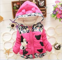 Wholesale Baby Girls Winter Jackets New Fashion Children Cartoon Mickey Zipper Hooded Thicken Warm Padded Outwear Kids Cotton Coat For Y