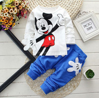 Winter cartoon print t-shirt - 8 styles Children Clothing Girls Cartoon Mickey Minnie Print Casual Outfits Kids Clothes Long Sleeve T shirts Tops Tee Pants set E220