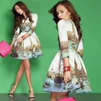 designer one piece dress - women s vintage fashion print brand designer one piece dress