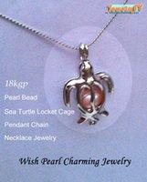achat en gros de sea pearl-18KGP tortue de mer Médaillons Forme Cage, souhaits Perle / Crystal / Gem Perle Pendentif Montages pour Bricolage Mode Charms belle bijoux