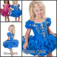 Wholesale Blue Birthday Party Dresses for Girls Organza with Crystal Beadings Cupcake Puffy Prom Dresses Off the Shoulder Heart Cut Back Pageant Gowns