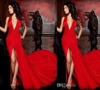 Cheap 2014 Stunning Red Long Prom Dresses Deep V Neck Mermaid Chiffon With Split Pleat Zuhair Murad Court Train Evening Dress Party Formal Gown