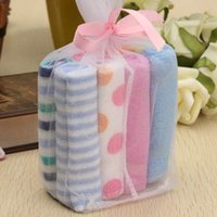 Wholesale 8Pcs Lovely Cotton Small Square Baby Care Baby Feeding Bath Hand Towel Handkerchief Boys And Girls Soft Towels