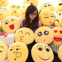 Wholesale 2016 Hot Smile Emotion Round Cushion Pillow Stuffed Plush Soft Toy iPhone Emoji Bolster best quality free ship