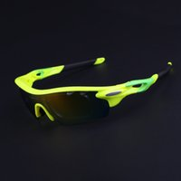 Wholesale Freeshipping Men Women Polarized Cycling Fluorescent Yellow Sunglasses Outdoor Sports Bicycle Glasses Bike Goggles Sun Eyewear with Lens