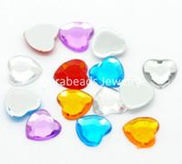 Wholesale Mixed Flatback Love Heart Acrylic Rhinestone Embellishment Findings x8mm B18606