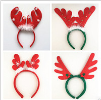 antler x - 12 cm Fabric Christmas Hairpin X mas Hairband Santa Claus Antler Snowman Bear Headband Headwear Kids Adults Christmas Party Dress Up Gifts