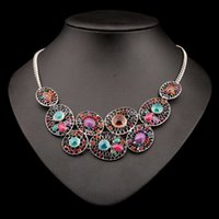 Wholesale 2015 Tibetan necklaces pendants Bohemian vintage colorful crystal gem water drop statement necklace bib collar necklace vn7