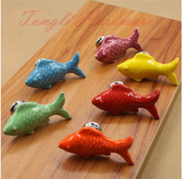 Wholesale Yellow Orange Red Green Blue Purple Swimming fish ceramic door knob handle for kids suitable for cabinet kitchen and drawer